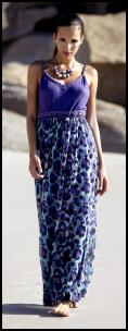 Blue Strappy Animal Maxi Dress £50 - M&Co Ladies Spring Summer 2010.